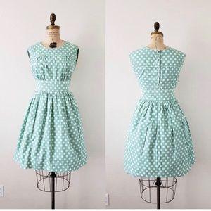 Vintage • Mint Polka Dot Dress